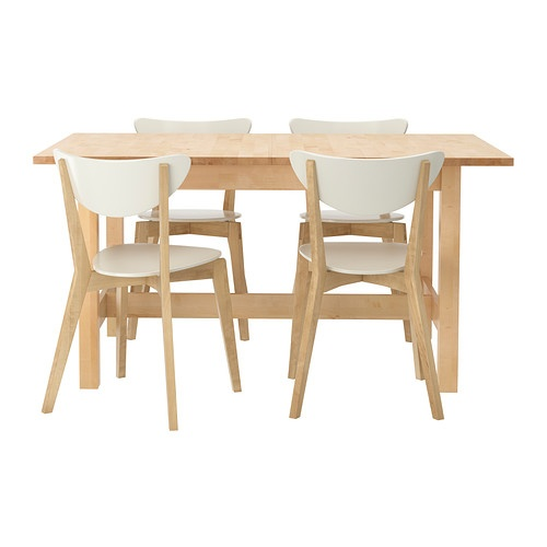 norden nordmyra extendable table and 4 chairs birch white seats 4