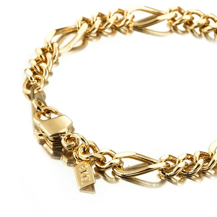 18ct Yellow Gold Layered Figaro Babies Bracelet with Parrot Clasp | Allure Gold