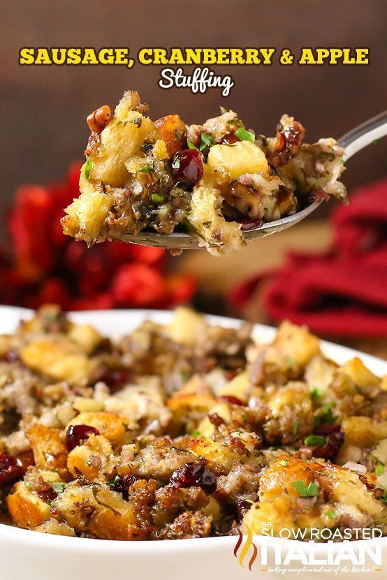 The Best Stuffing Recipe Ever starts with sausage, cranberry and apple. Herbs and spices are added in but the real magic happens as the pan is deglazed with a the most glorious combination of liquids and those bits are scraped up creating the most magnificent sauce to bake the stuffing in. Oh my word!