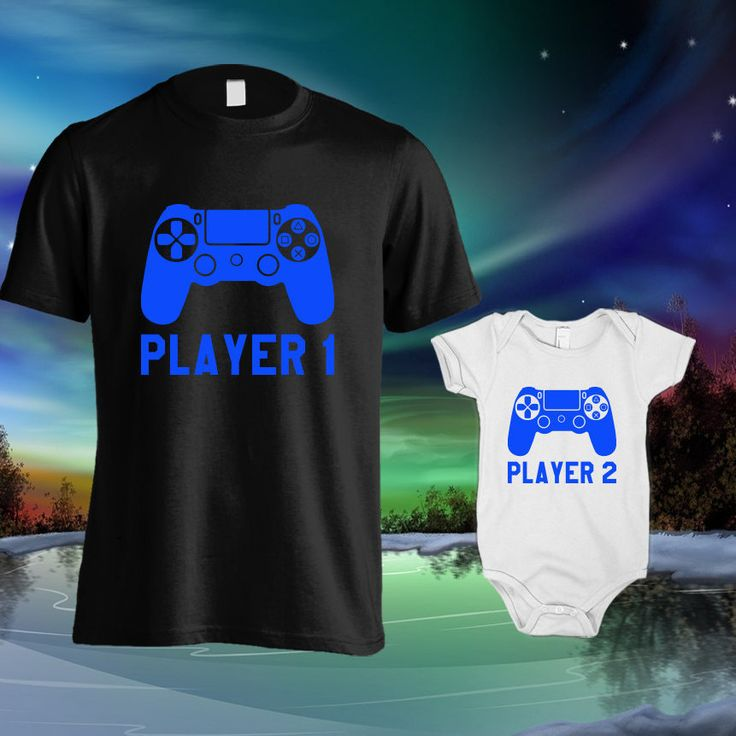 Father and son matching shirts, Player 1 Player 2, Dad and baby matching, Father son t shirts, Dad and son shirts, Dad and baby tshirts by Wazaaashop on Etsy