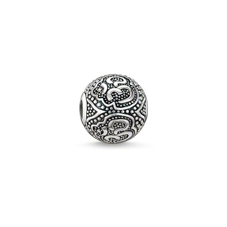Thomas Sabo Women Men-Bead Hand of Fatima Karma Beads 925 Sterling Silver blackened K0219-637-12 IQef6VCwf