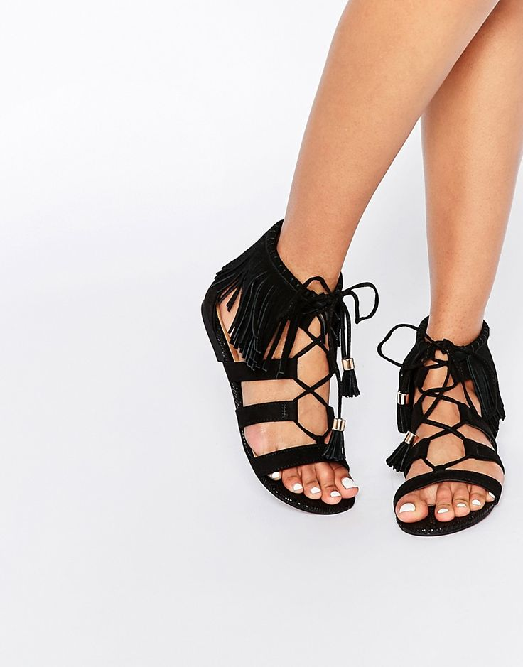 Image 1 ofRiver Island Fringed Cuff Flat Sandal