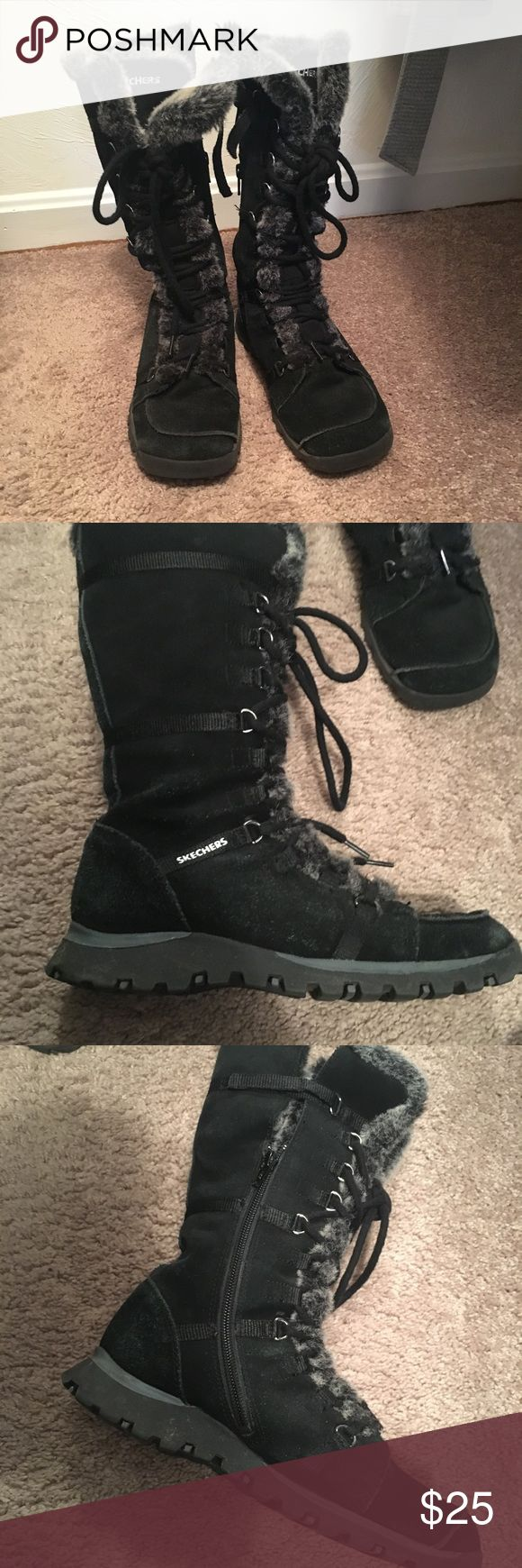 Skechers faux fur lined winter boots Skechers faux fur lined winter boots size 7. Gently worn, in excellent used condition. These boots come up to the calf and look great over a pair of leggings. Skechers Shoes Winter & Rain Boots