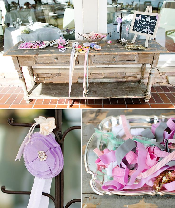 Make-A-Headband station: Baby shower guests make headbands for your baby girl and write their names on the inside so mom knows who made it. A Good Affair Wedding & Event Production.