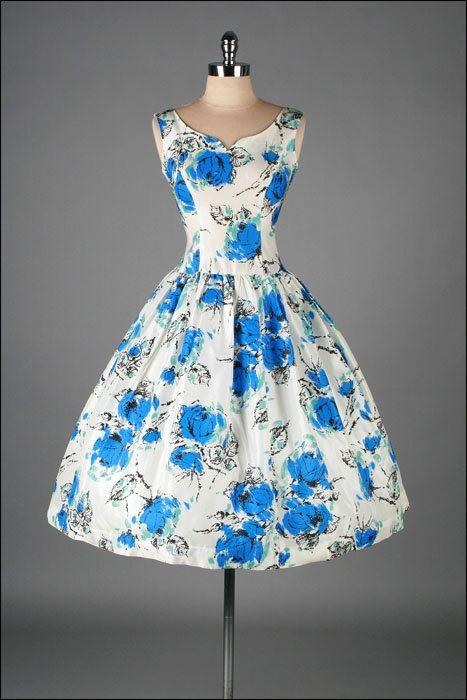 Vintage 1950s Dress White Taffeta Cobalt by millstreetvintage