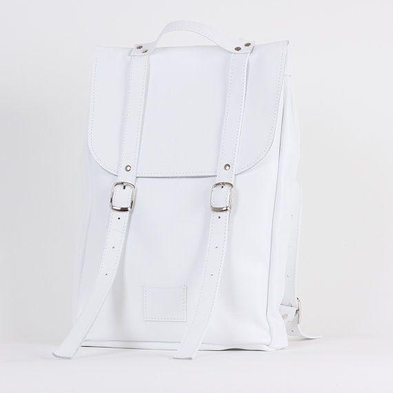 White middle size leather backpack rucksack / To order / White genuine leather minimalist backpackrucksackkokosinasimple backpackknapsackback to school leather rucksack women woman girls gift