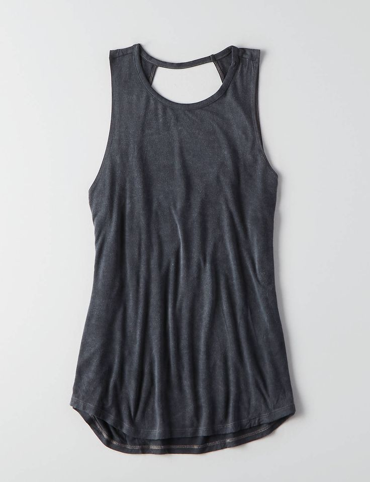 AEO Soft & Sexy Cowl Back Jegging Tank , Lead | American Eagle Outfitters