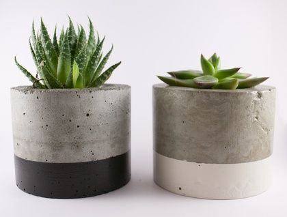 this paint dipped concrete planter pot is perfect for your indoor plants, your cacti or succulents will look adorable!  made from concrete, dipped in paint and finished with a concrete sealer.  s i z e :  pot 90mm diameter 70mm height 0.7kg weight  planting area 65mm diameter 44mm depth  as these po...