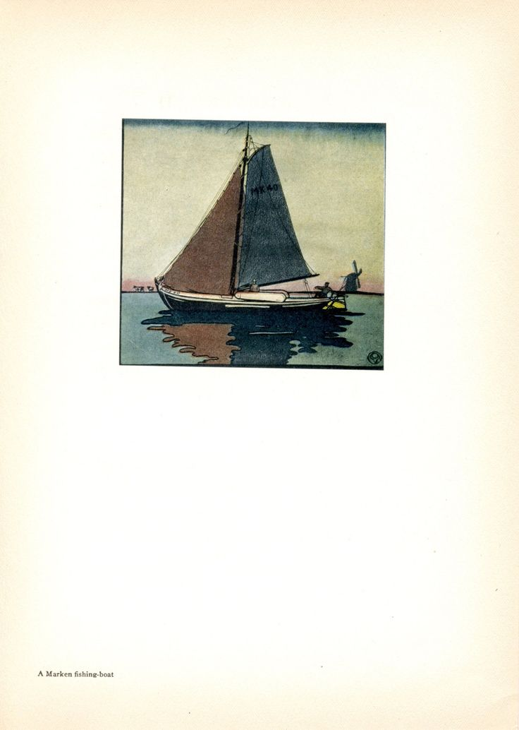 Marken Fishing Boat. Tipped Book Plate. Edward Penfield. Holland. 1907 by DustCoverPaperati on Etsy