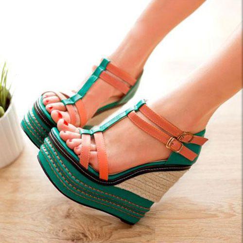 Shoespie Color Contrast Wedge Sandals