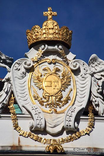 Vienna Hofburg crown and shield roof detail