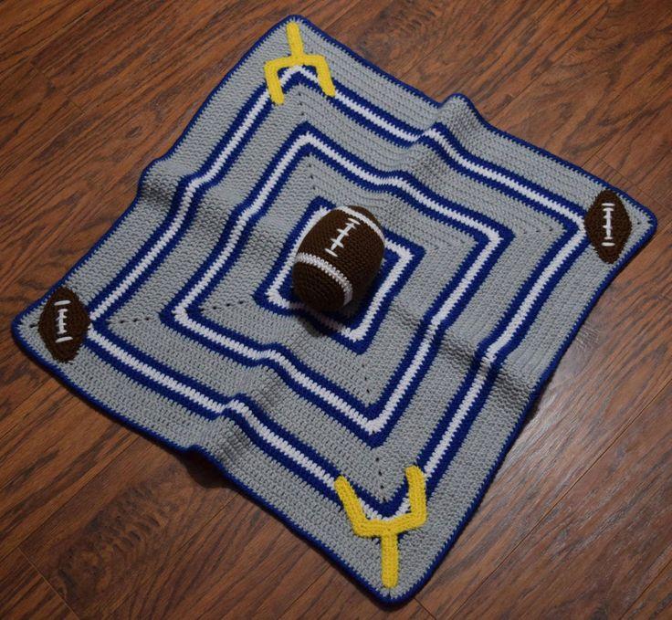 Crochet Football Lovey Blanket/Crochet Football Security Blanket/Crochet Football Baby Blanket/Football Amigurumi/Child Sports Blanket/ by PawsitivelyCrafty on Etsy