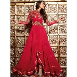 Malaika Red Draped Style Trail Georgette Anarkali
