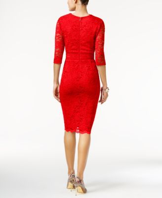 Red stretch lace sheath dress