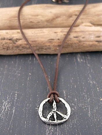 Peace Sign Necklace  Handmade Jewelry  Leather by islandcowgirl, $56.00