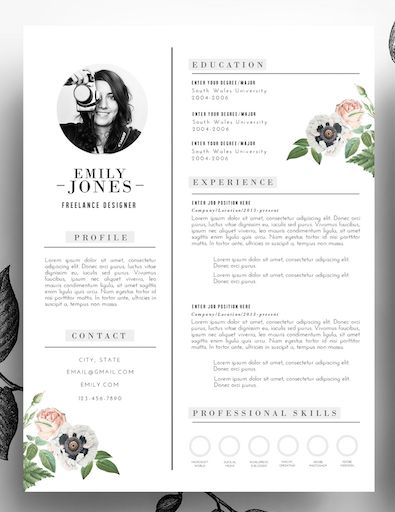 Adorable editable floral 2-page resume template in .psd format and MS Word…