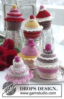 """Crochet DROPS cupcakes in """"Muskat"""". ~ DROPS Design  These are too cute and the pattern is free!!!  HERE YA GO!! http://www.ravelry.com/patterns/library/0-820-cupcakes-in-muskat"""
