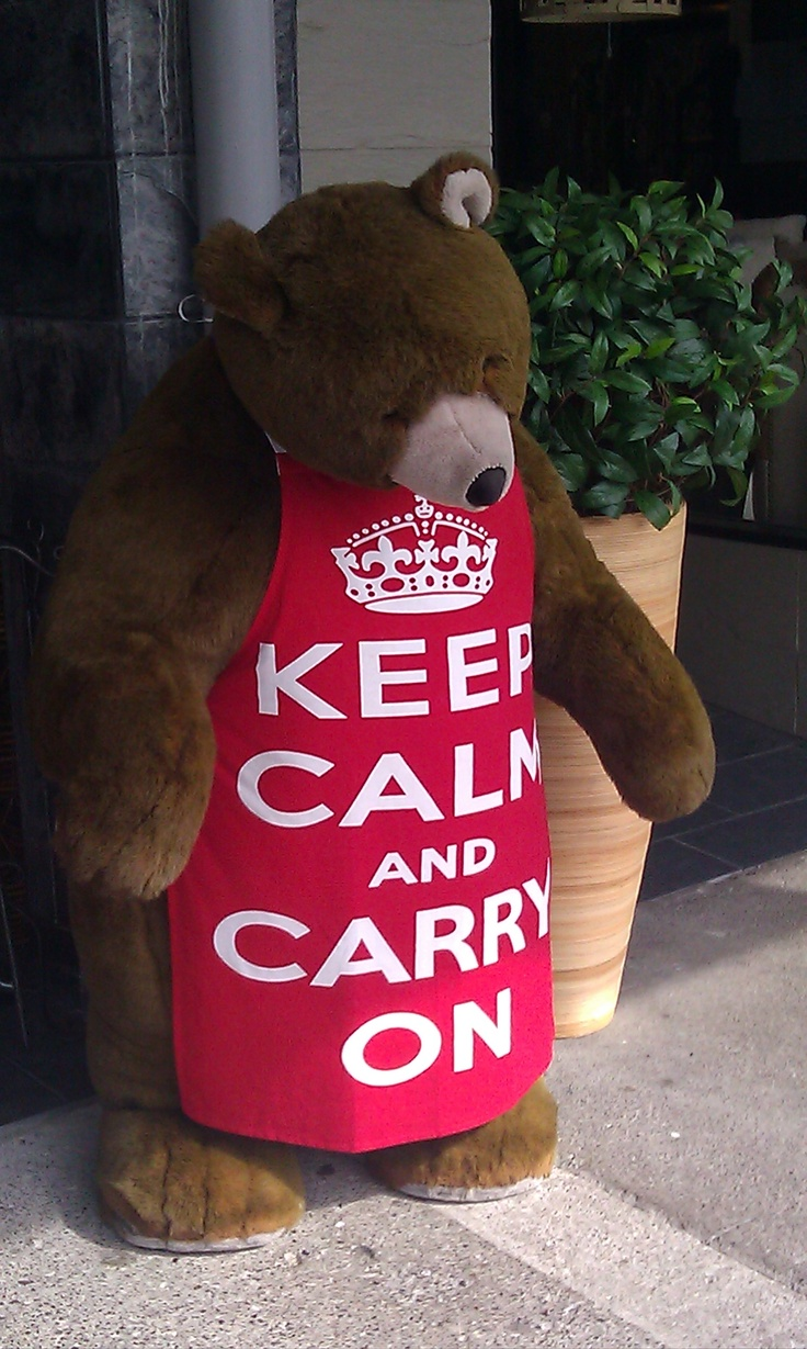 Keep calm and carry on. Bear outside a store in Taupo, New Zealand.