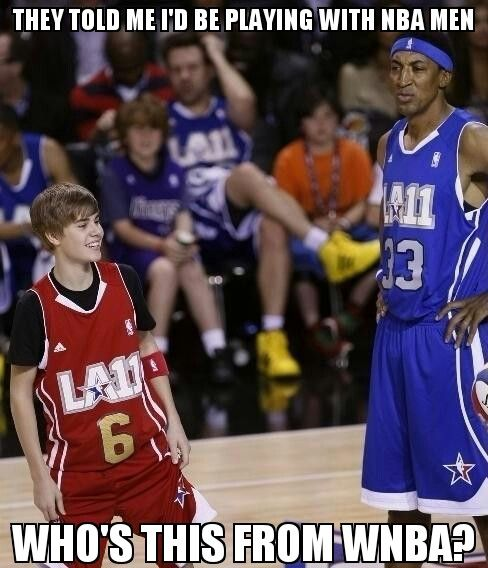Scottie Pippen is confused during the All-Star celebrity game - featuring Justin Bieber