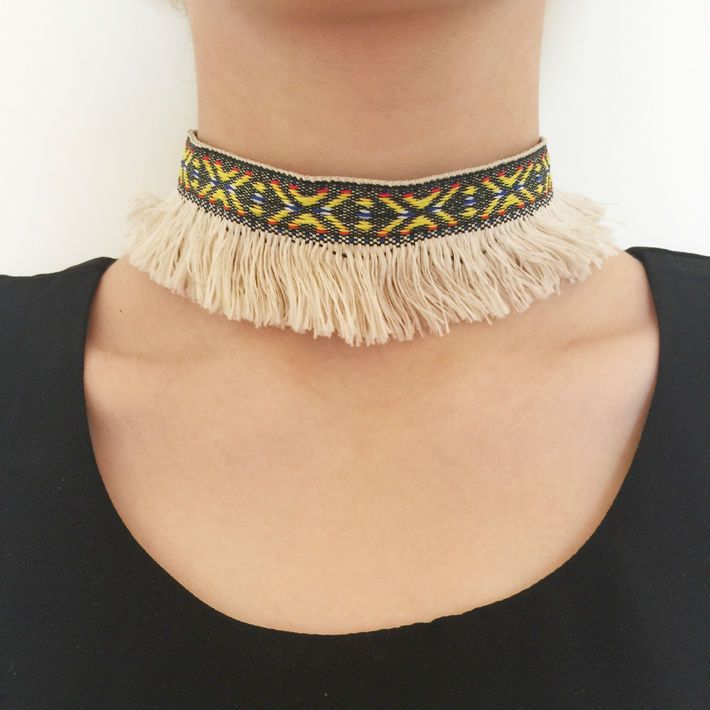 Choker necklace ethnic tribal fringe chain gothic collar bohemia colorful torques mujer new - free shipping worldwide