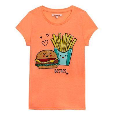 bluezoo Girls' orange fast food print t-shirt | Debenhams