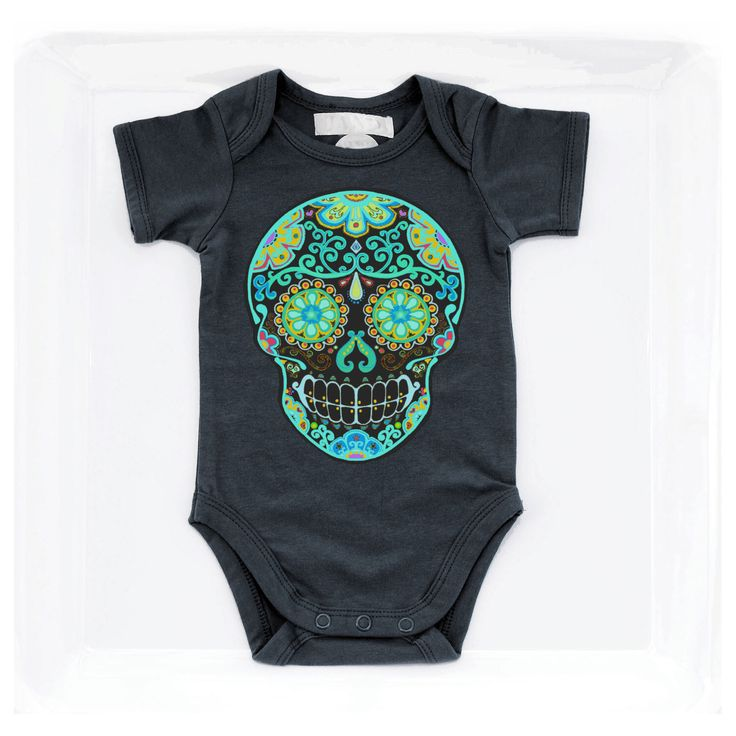 Black Day of the Dead Skull Baby Clothes Rockabilly Tattoo kids Trendy girl boy 3, 6, 12 months Punk Baby Shower Gift Tattoo hippie bodysuit by BonesNelson on Etsy https://www.etsy.com/listing/227986502/black-day-of-the-dead-skull-baby-clothes
