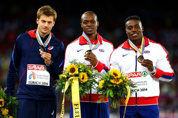 James Dasaolu (centre) Christophe Lemaitre22nd European Athletics Championships