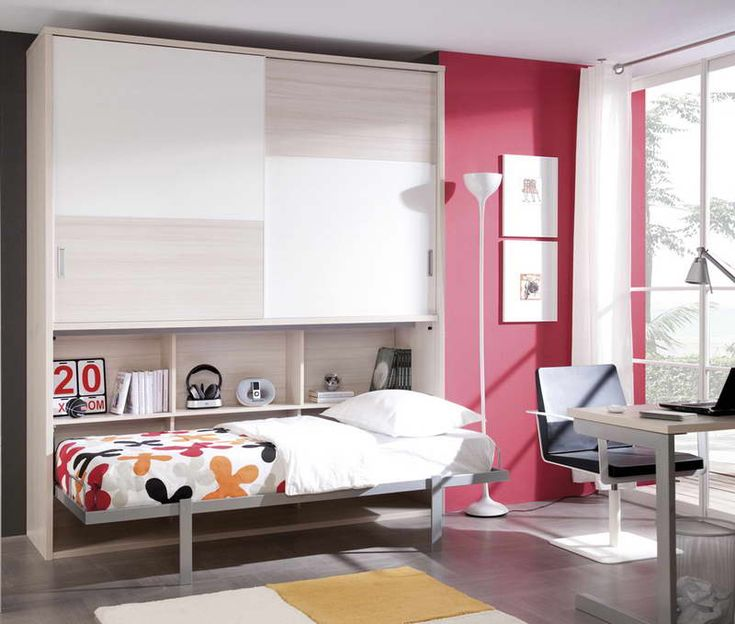 Small Murphy Bed for Small Bedroom Interior With Window Glass