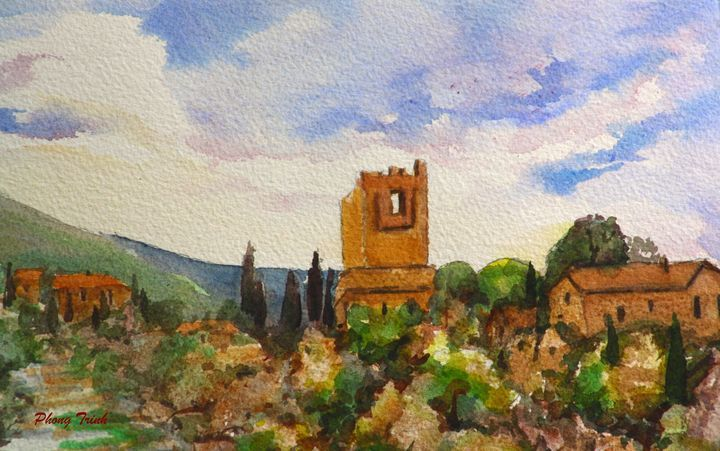 Lagrasse (6) - Phong Trinh Watercolor. More Fine Art Print Available at http://www.artpal.com/phongtrinh/