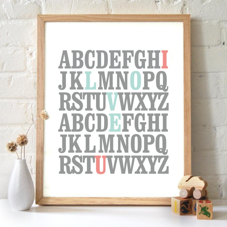 8x10 ABC Print. I love you. Alphabet Love. Typography Print. Mint and Coral - 115. $9.00, via Etsy.