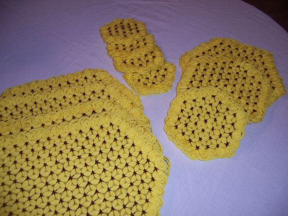 11 Piece Yellow & Brown Placemat Set by YeOldeStitchery on Etsy
