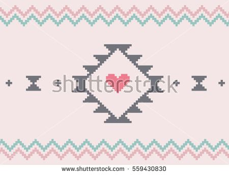Traditional Valentine's Day background pattern in a cross stitch style