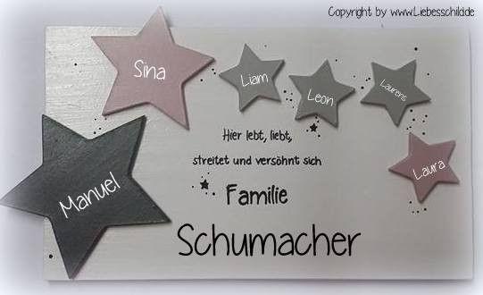 Tür- & Namensschilder - Türschild Familienschild Sterne, Stern rosa - ein Designerstück von Alexandra-Sangs bei DaWanda