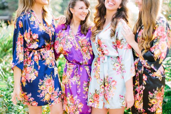 Bridesmaid Robes  Bridesmaid Gift  Floral Robes  Wedding  Bridesmaid robes floral - These high quality floral bridesmaid robes are a unique keepsake for your bridesmaids, wedding party, and mother of the bride! This handmade satin floral kimono robe is a perfect bridesmaid gift. We make these in advance in our shop in order that we can ship fast!