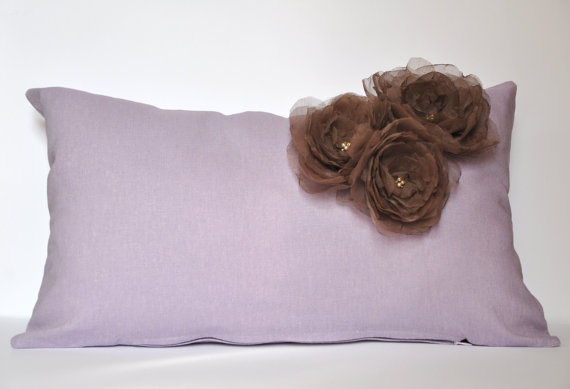 Lavender Linen Pillow Case With Brown Organza Fabric by tuliManna, $25.00