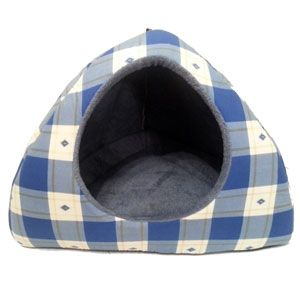 Blue Checked Dog Igloo Bed #dogigloobed #petbed #igloopetbed #igloo #petbed #bluechecked