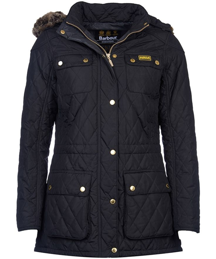 The Barbour International Enduro Quilt is a parka-style quilted jacket that fuses style and practicality with ease. The detachable hood is ideal for colder days, and features a removable faux fur trim that not only looks great but will keep you cosy and warm when the winter winds set in. The Enduro quilt has been designed to fit and flatter the feminine figure; the addition of the drawcord waist will create a sleek silhouette and will further protect against the elements. Four large pockets…