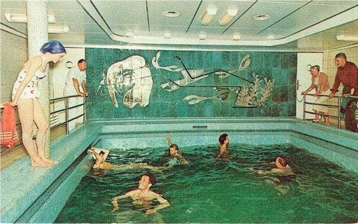Origineel glaswand-paneel HAL-cruise-schip ss Statendam zwembad