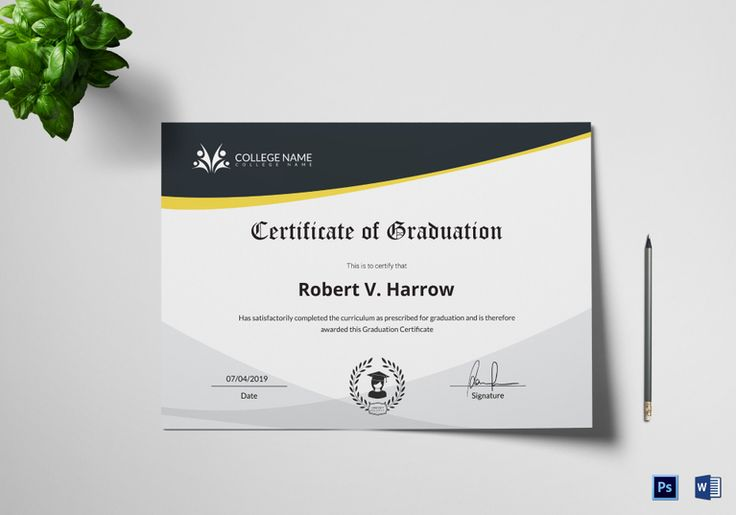 Universal College Graduation Certificate Template  $9.99  Formats Included : MS Word, Photoshop  File Size : 11.69x8.26 Inchs #Certificates @Certificatedesigns #educationcertificates