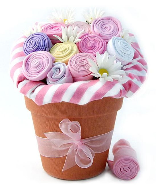 Pink Baby Blossom Clothing Bouquet   easy diy!