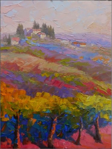 Walking to San Gimignano , 12x16, oil on board, Tuscany, paintings of San Gimignano, vineyards, Tuscan scenes, impasto, painting by artist Maryanne Jacobsen
