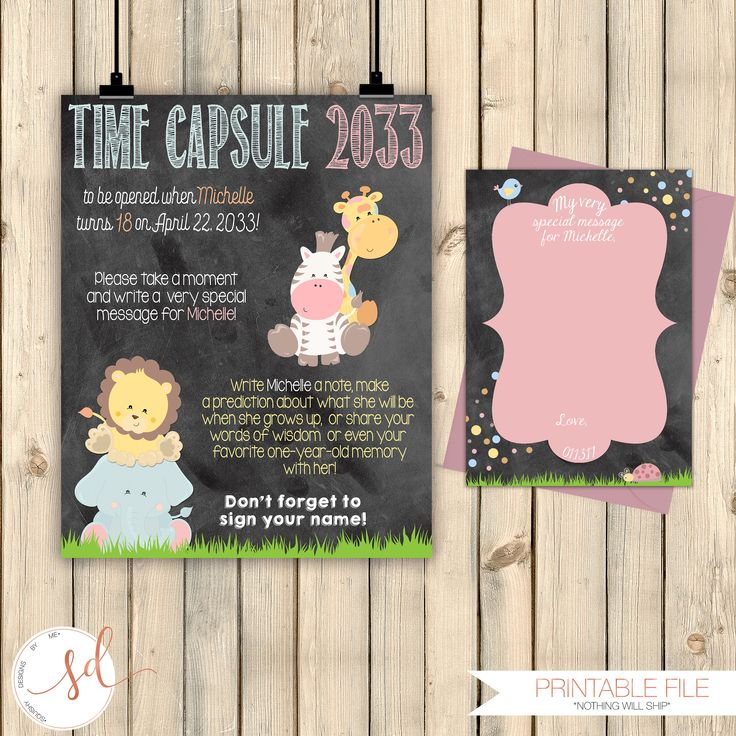 words to write in wedding shower card%0A Jungle Safari First Birthday Time Capsule Chalkboard Poster  Girl  st  Birthday Keepsake  Message Card