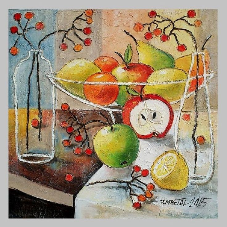 Still Life Modern Original Oil Painting Fruits Apple Lemon ...