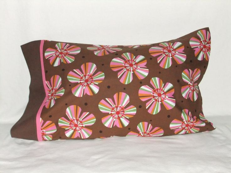 """FLOWERS in Pink & Orange w dark cuff PILLOWCASE - 20"""" x 35"""" by KatiesCOVERS on Etsy"""