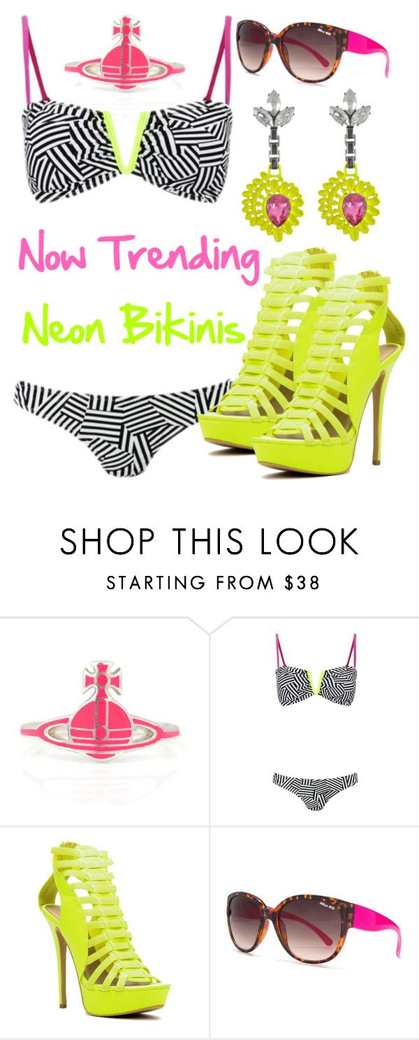 """""""Promoted - Now Trending: Neon Bikinis"""" by deedee-pekarik ❤ liked on Polyvore featuring Vivienne Westwood, South Beach, Lipsy, Mawi, trending, promoted and neonbikinis"""