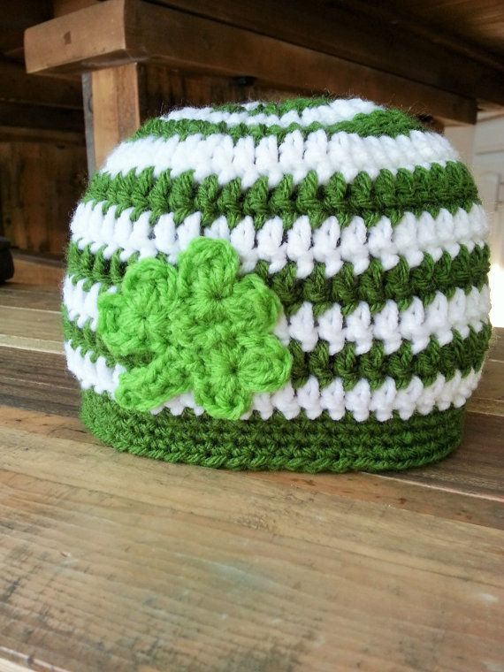 St Parick's Day - St Paddy's Day - Shamrock Crochet Hat Pattern