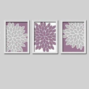 Bright Colorful Flowers Floral Purple Lavender Grey Gray White Artwork Set of 3 Trio Prints Bedroom Wall Decor Art Picture Bedding Match on Etsy, $25.00 by patrice