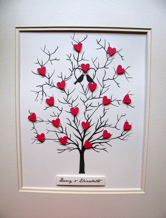 8x10 Tree of 3D Mini Hearts. Wedding, Anniversary. Can Be Personalized. YOUR CHOICE of Colors. UNmatted/UNframed. Made to Order by aboundingtreasures