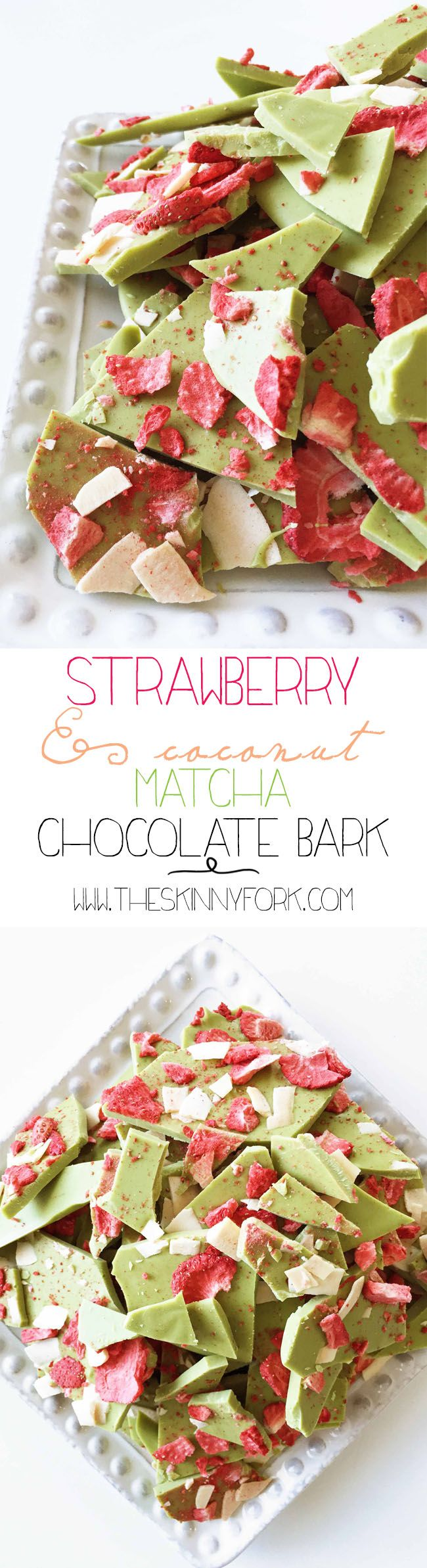 A better-for-you candy just in time for Valentine's Day! Strawberry & Coconut Matcha Chocolate Bark - yum! TheSkinnyFork.com