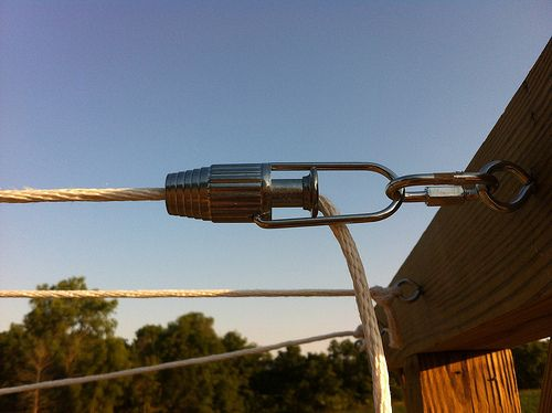 DIY Clothesline with these great little gadgets -line tightener hardware.